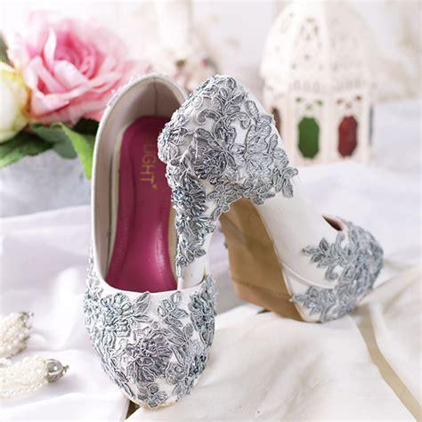 sepatu platform wedding brukat silver tua slightshop