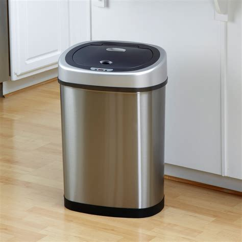 Trash Cans Kitchen by Nine Dzt 42 9 Touchless Stainless Steel 11 8 Gallon