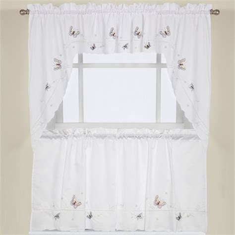 Swag Curtains For Kitchen Embroidered Fluttering Butterfly Kitchen Curtains Tiers