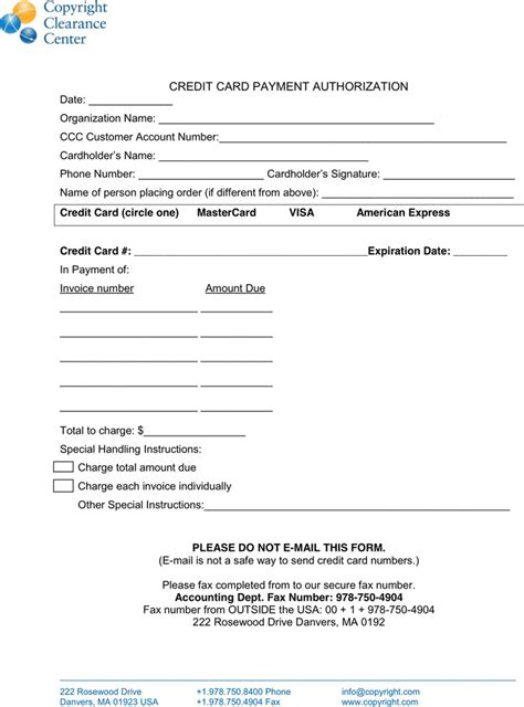 credit card authorization form template excel credit card payment authorization template free