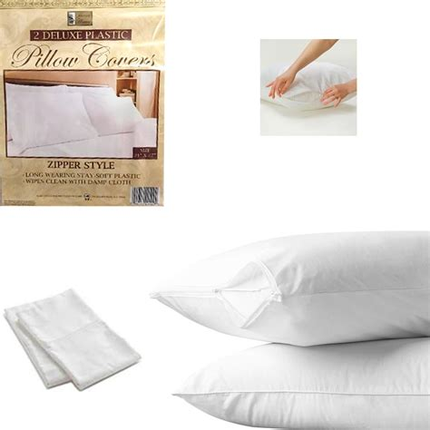 bed plastic cover 2 white hotel pillow plastic cover case waterproof zipper