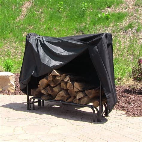 diy firewood rack cover 4 foot log rack outdoor firewood storage with black cover