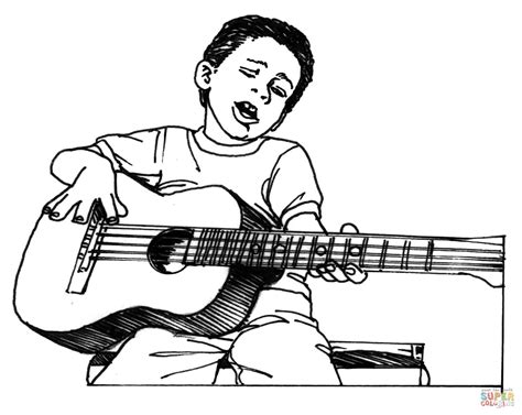 girl guitar coloring page boy plays guitar coloring page free printable coloring pages