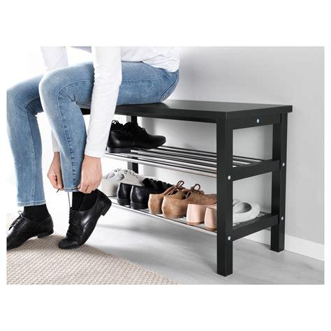 tjusig bench tjusig bench with shoe storage black 81x50 cm ikea