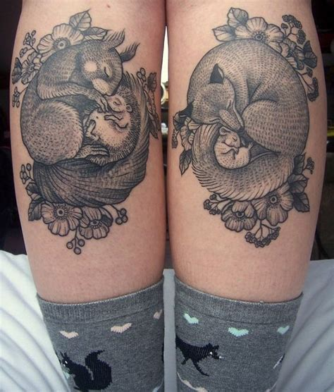 natural tattoo designs beautiful looking black ink sleeping animals
