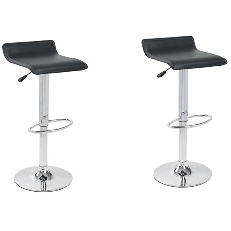 Thin Stool And Gas by Hydraulic Lift Black Faux Leather Adjustable Height Swivel