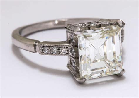 vintage asscher or emerald cut 3 5 carat platinum