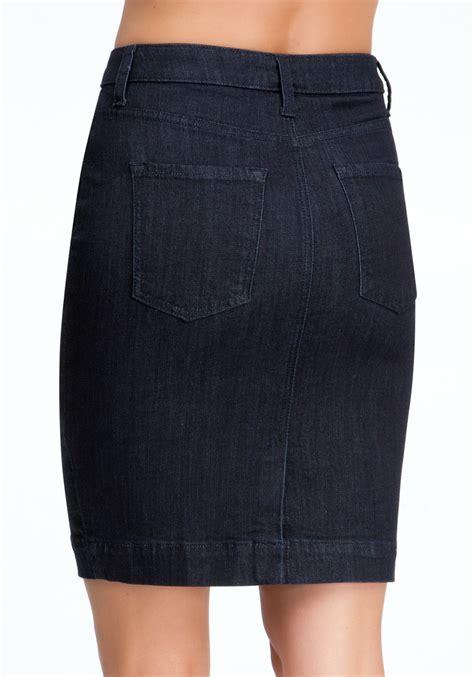 bebe back slit denim pencil skirt in blue lyst