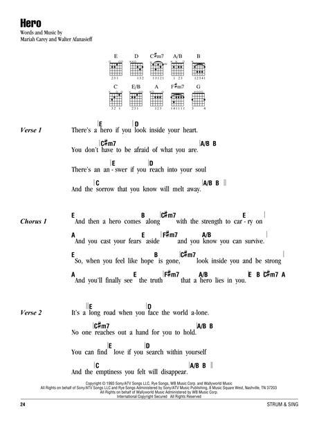 heroes printable lyrics hero sheet music by mariah carey lyrics chords 162567