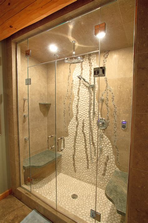unique shower wall design with white pebble tile glass