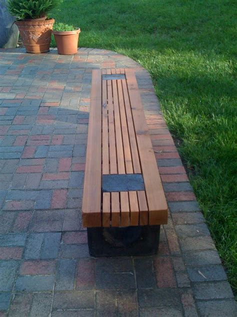 cedar outdoor benches  straight   curved dyed cement