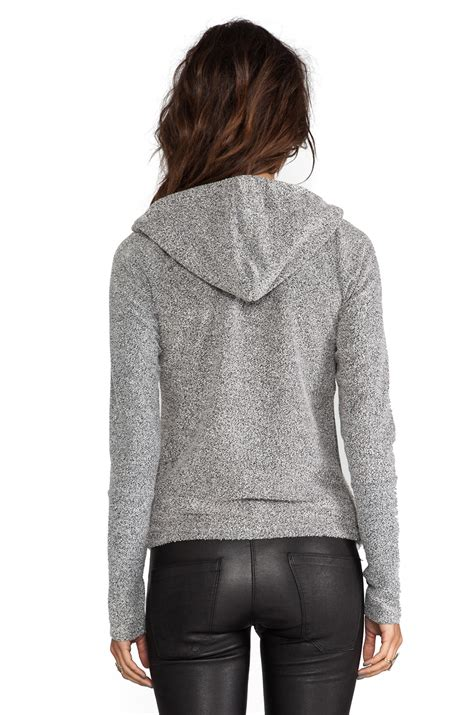 hooded drape cardigan lyst dolan long sleeve hooded draped cardigan in gray in
