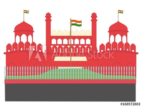 red fort drawing vector illustration buy  stock