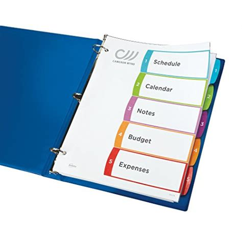 avery customizable table of contents avery customizable table of contents dividers 5 tab set