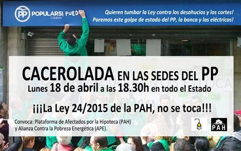 lunes 18 a domingo 24 de abril de 2016 secorgar catalunya cacerolada lunes 18 de abril a las 18 30h ante