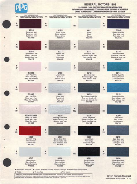 paint chips 1998 gm astro