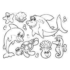 coloring pages water animals sea creature coloring page vitlt com