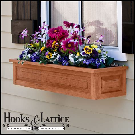 window box hooks raised panel cedar window box w liner option looks great