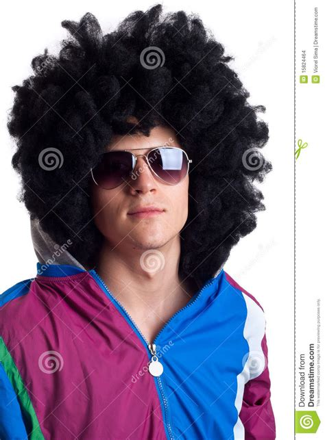 man wearing wig and sunglasses stock images image 15824464