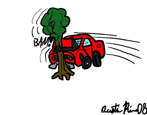 cartoon car crash car crash cartoon car crash into tree
