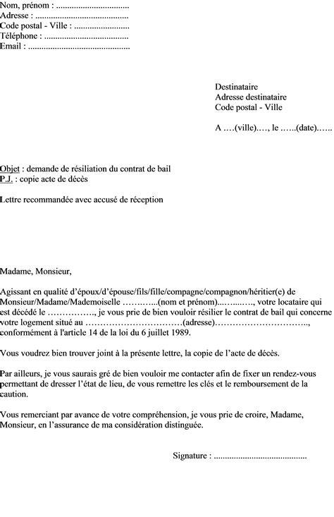 exemple de lettre de r 233 siliation du contrat de bail d un logement suite 224 un d 233 c 232 s