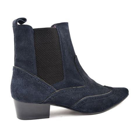 buy navy suede cuban heel beatle boot gucinari style