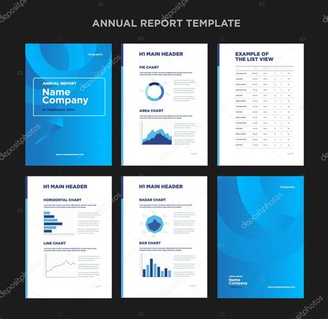 modern annual report template with cover design and