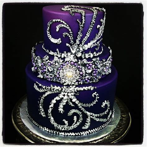 purple bling wedding cake maybe the prettiest cake i ve made bling purple