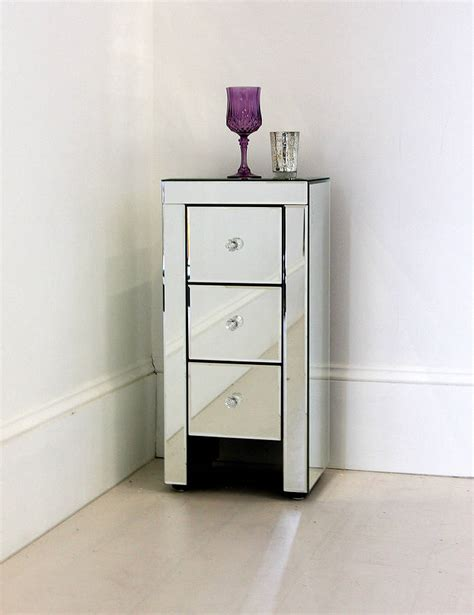 Skinny Bedside Table | narrow mirrored bedside table by out there interiors