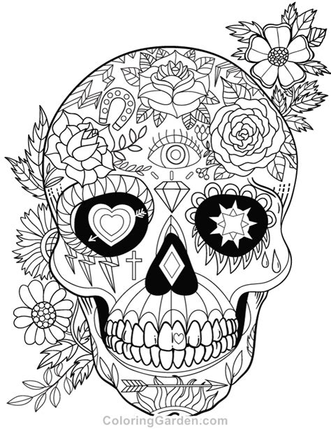 sugar skull coloring page pdf free printable sugar skull day of the dead adult