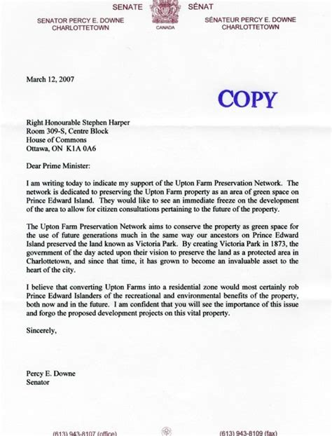 Thank You Letter Of Support thank you senator downe upton farmlands