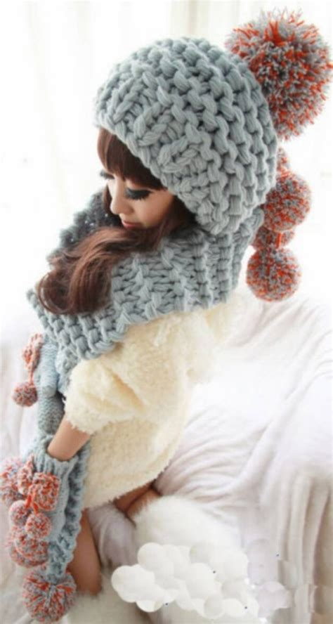 hippy 3in1 grey crochet woollen gloves scarf hats cap raluca fashion
