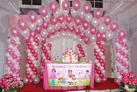 pink and white balloon decorations birthday
