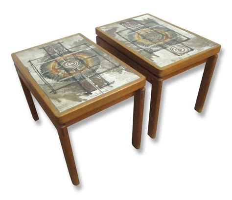 Antique Side Tables For Living Room Cool Mid Century Tile Top Wooden Side Tables Olde Things