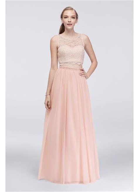 Lace Pink Crop Top Skirt Gaun Malam Dress Baju Pesta Import lace crop top and jersey skirt two dress david s bridal