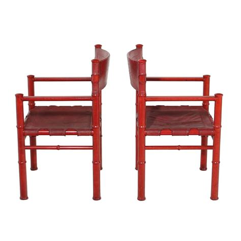 red armchair for sale pair of red leather vintage chairs for sale at 1stdibs