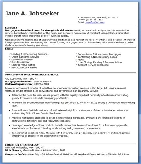Resume Sles Loan Processor Mortgage Underwriter Resume Exles Creative Resume Design Templates Word