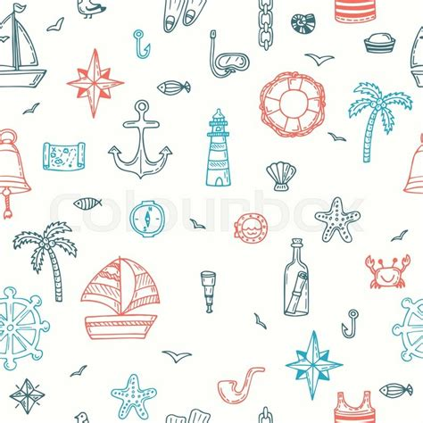 nautical pattern vector free cute hand drawn seamless pattern with nautical elements