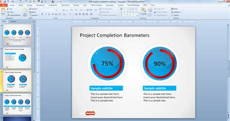 free project completion barometer shapes for powerpoint