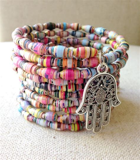 Handmade paper bead bracelet, Multicolored bracelet, Memory wire bracelet, Wire wrapped bracelet