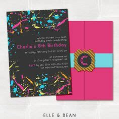 Graffiti Does Invitations by Bright Neon Theme Birthday Invitations Glow In The