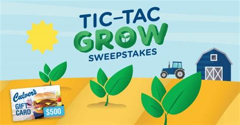 Tic Tac Sweepstakes - sweepstakeslovers daily culver s evian more