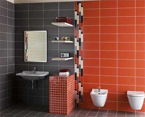 modern wall tiles  red colors creating stunning bathroom