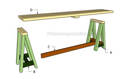 console table plans howtospecialist how to build step sawhorse console table plans howtospecialist how to