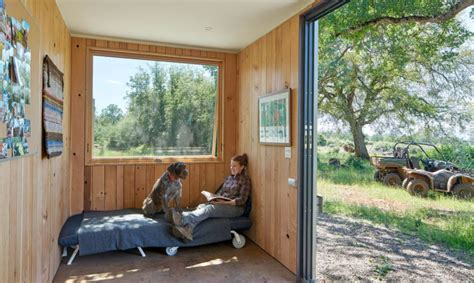 grid shipping container cabin   warm wooden