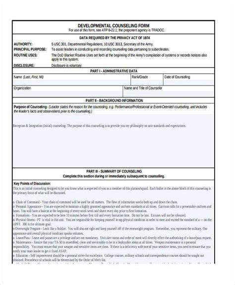 38 Counseling Forms In Pdf Army Counseling Templates