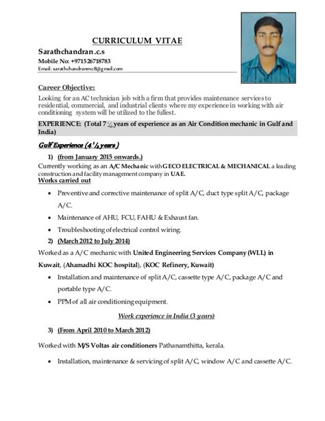 resume format for ac mechanic resume for ac technician resume ideas
