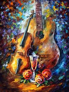 Guitar and violin palette knife oil painting on canvas by leonid