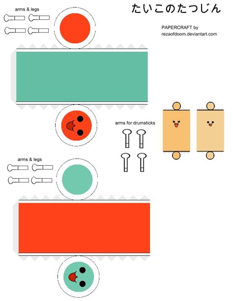 Sushi Papercraft - taiko papercraft template by rezaofdoom on deviantart