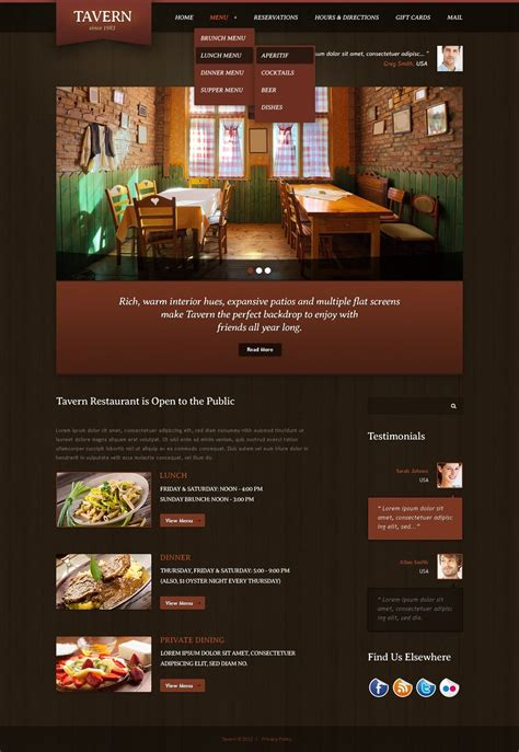 cafe web design templates cafe and restaurant website template 39160
